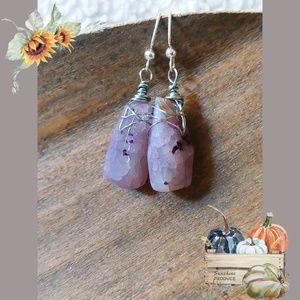 Purple Agate Chunk Earrings